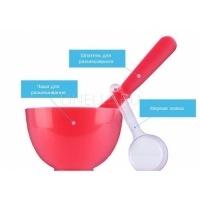 Beauty set red (rubber ball small/spatula middle/measuring cup) [Набор для нанесения альгинатных масок ]
