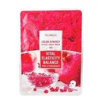 Color synergy effect sheet mask red [Маска тканевая на основе гиалуроновой кислоты с экстрактом граната и лепестков роз]