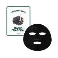 Pore deep clear black charcoal mask [Маска для лица тканевая с древесным углем для сужения пор ]